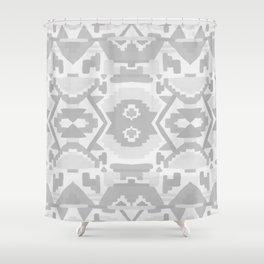 Geometric Aztec in Soft Grey Shower Curtain