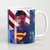 superman Mugs featuring Superman by Scar Design