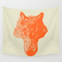 coyote Wall Tapestries featuring Head Coyote by barmalisiRTB