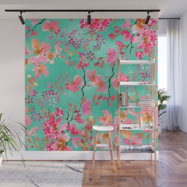 Elegant hand paint watercolor spring floral Wall Mural