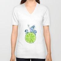 lemon V-neck T-shirts featuring Lemon by jausrine