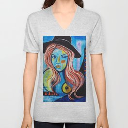 Blue Lady With Hat Unisex V-Neck