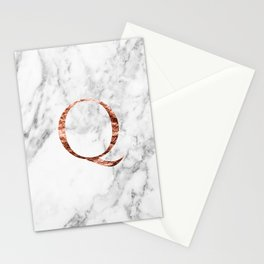 Monogram rose gold marble Q Stationery Cards