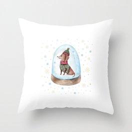 Dog Snow Globe (1) Throw Pillow