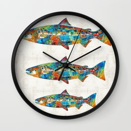 Fish Art Print - Colorful Salmon - By Sharon Cummings Wall Clock