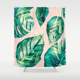 Leaf watercolor pastel Shower Curtain