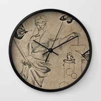 justice Wall Clocks featuring Justice by Maithili Jha