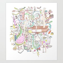 rabbits & candy Art Print