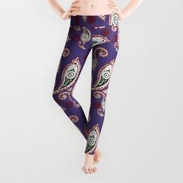 Oriental ornament purple . artwork Leggings