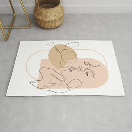 Amour 2 - Romance Neutral One Line Art Abstract Drawing Rug