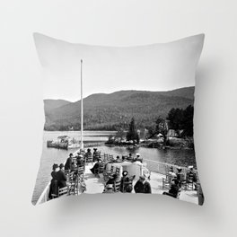 Vintage Lake George: Huletts Landing Throw Pillow