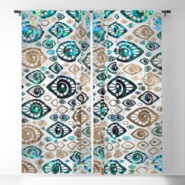 Greek Evil Eye pattern Abalone shell and gold #2 Blackout Curtain