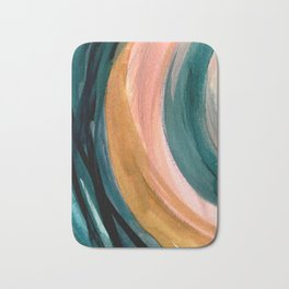 Breathe: a vibrant bold abstract piece in greens, ochre, and pink Bath Mat