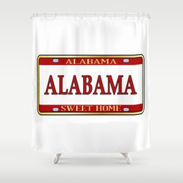 Alabama State Name License Plate Shower Curtain
