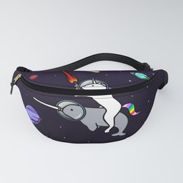 Unicorn Riding Narwhal In Space Fanny Pack