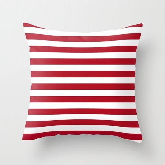 Throw Pillows Red And White : Horizontal Stripes in Red and White Throw Pillow by Leah McPhail Society6