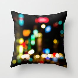 Shibuya Bokeh Lights Throw Pillow