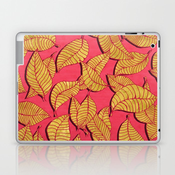 Golden tree leaves pink Laptop & iPad Skin