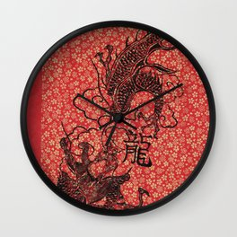Long The Chinese Zodiac Dragon in red, black and gold Wall Clock