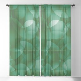 Dark intersecting green translucent circles in bright colors with a grassy glow. Sheer Curtain