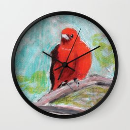 Scarlet Tanager Wall Clock
