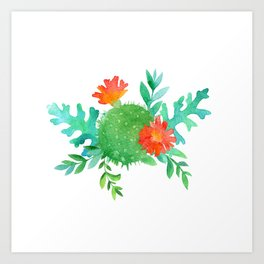 Watercolor cactuses and leaves Art Print