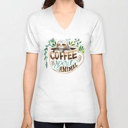Coffee is my spirit animal Unisex V-Neck