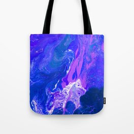 Royal | Blue, Purple, Indigo, and White Fluid Acrylic Abstract Painting Tote Bag
