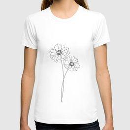 Botanical illustration line drawing - Anemones T-shirt