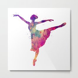 Ballerina Girl Art Colorful Watercolor Gift Dance Art Ballet Decor Metal Print