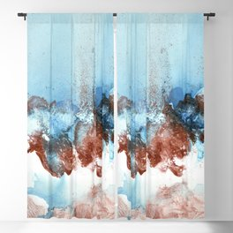 Copper Blue Abstract Sky Blackout Curtain