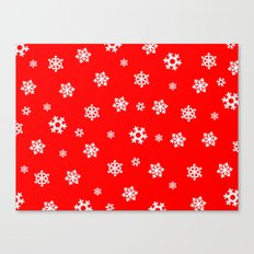 Snowflakes (White on Red) Canvas Print