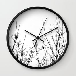 Birds on Branches - black and white bird branch photo minimalist silhouette Wall Clock