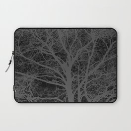 Black and white tree silhouette Laptop Sleeve