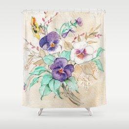 Pansies Bouquet Shower Curtain