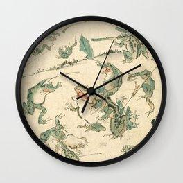 Battle Of The Frogs - Kawanabe Kyosai Wall Clock
