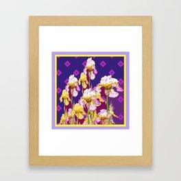Iris Garden In Shades Of Purple Framed Art Print