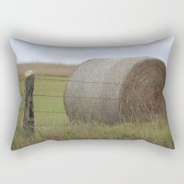 Kansas Hay Bale in a field with a fence Rectangular Pillow