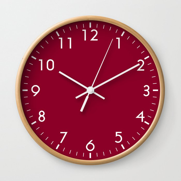 Red Solid Color Block Wall Clock