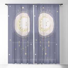 The Moon and stars - magical tarot illustration no6 Sheer Curtain