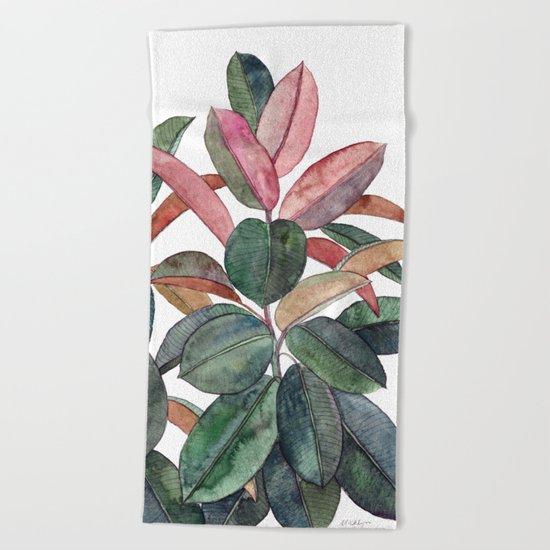 Rubber Plant Beach Towel