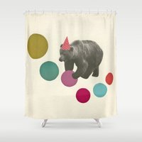 birthday Shower Curtains featuring Birthday Bear by Cassia Beck