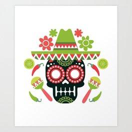 Mexican Cinco De Mayo Skull Party Art Print