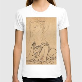 Hokusai, a woman combs her hair -manga, japan,hokusai,japanese,北斎,ミュージシャン T-shirt