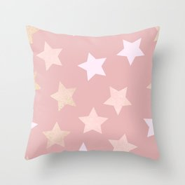 sweet pastel dusty pink golden colors stars pattern Throw Pillow