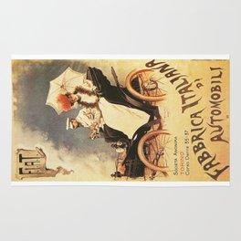 Vintage Poster, car fabrica italiana de automobili, vintage poster Rug
