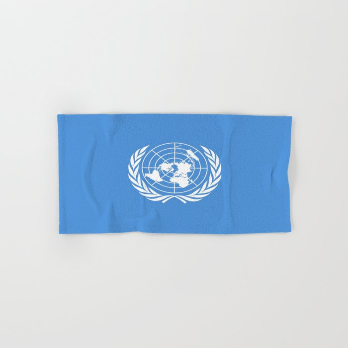Flag on United nations -Un,World,peace,Unesco,Unicef,human rights,sky,blue,pacific,people,state,onu Hand & Bath Towel