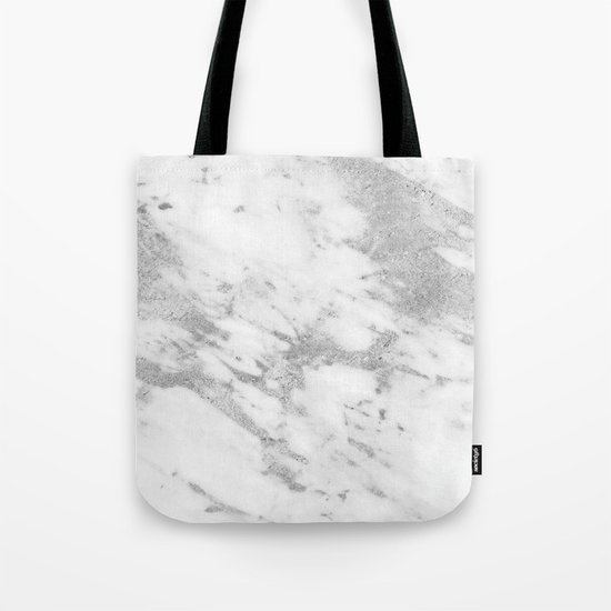 Marble - Silver and White Marble Pattern Tote Bag