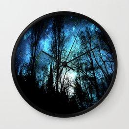 Black Trees Deep Teal SPACE Wall Clock