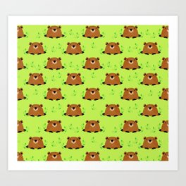 Adorable Groundhog Pattern Art Print